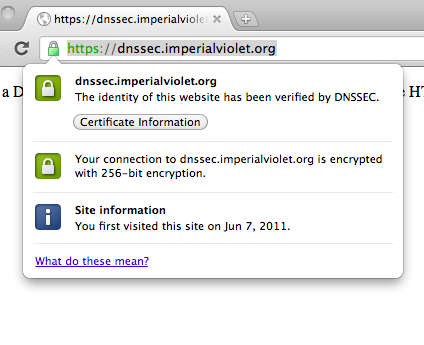 ImperialViolet - DNSSEC authenticated HTTPS in Chrome
